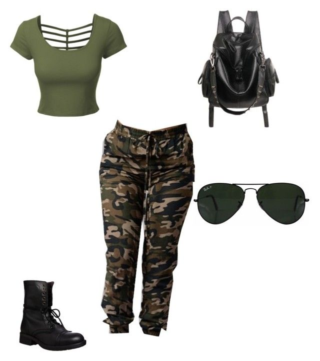 """Sin título #6"" by luna-giuliana on Polyvore featuring moda, Steve Madden, LE3NO y Ray-Ban"