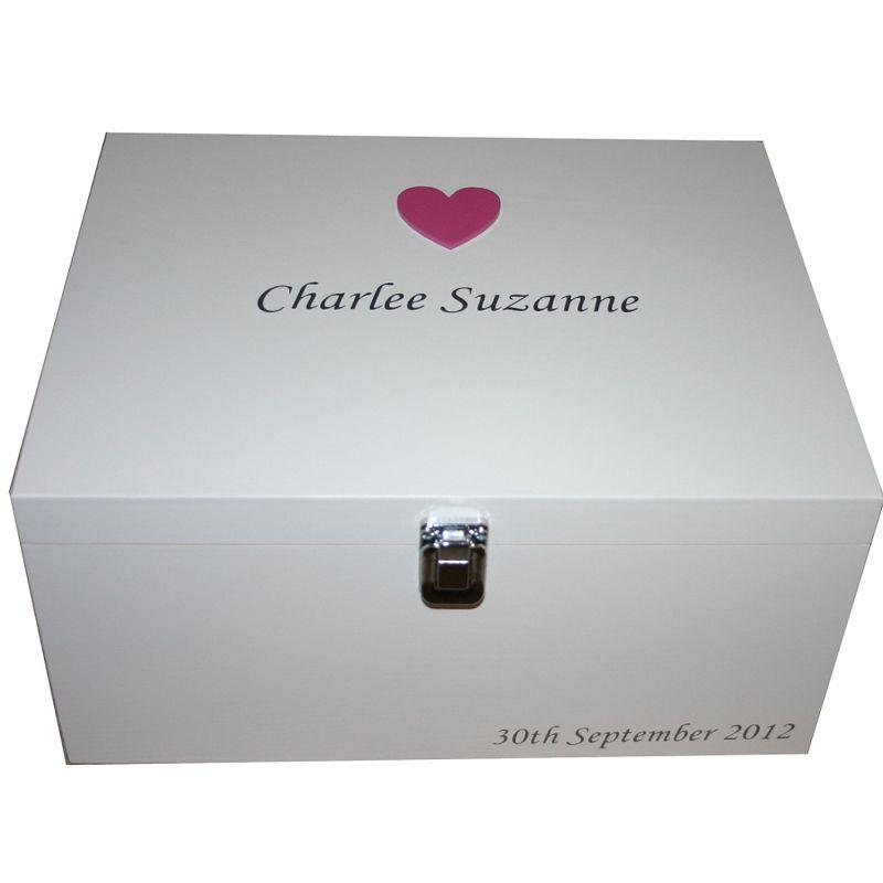White Keepsake Box Dark Pink large heart silver lettering ...