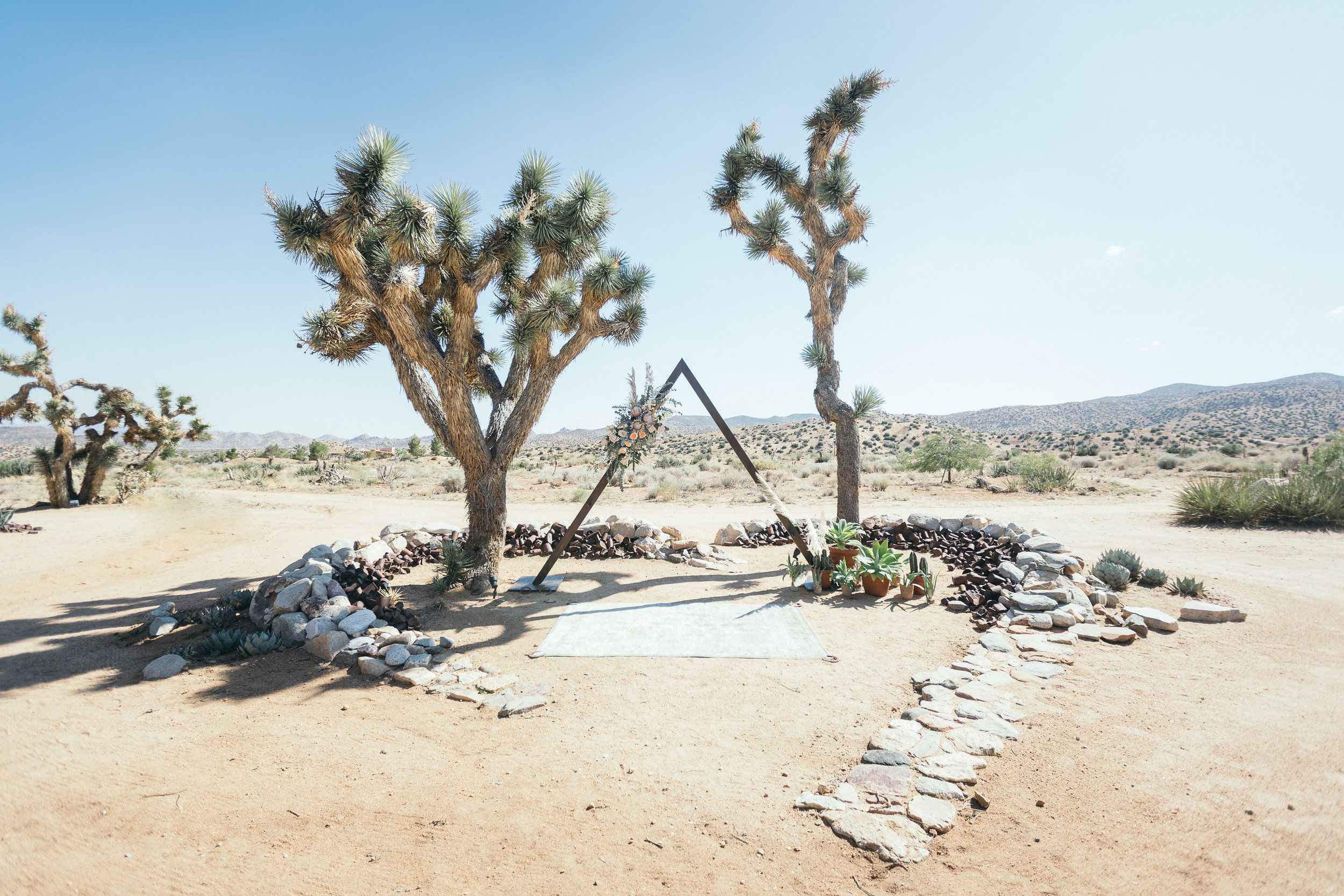 Bohemian Wedding Triangle Ceremony Arch King Protea Rimrock Ranch Desert Venue Pioneertown California Art Soul Events