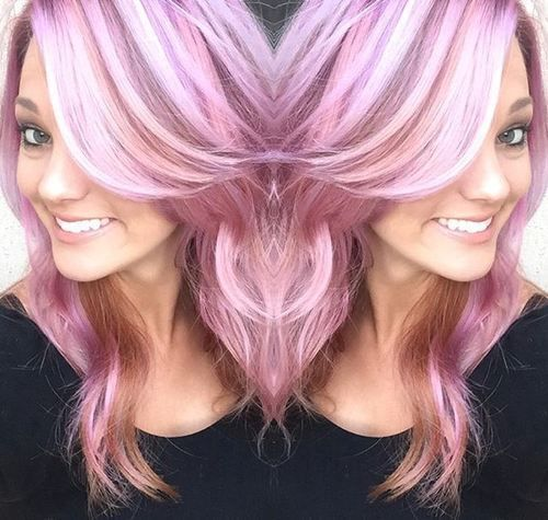 cheveux rose pastel avec des reflets blancs et bruns funky hair pinterest cheveux couleur. Black Bedroom Furniture Sets. Home Design Ideas