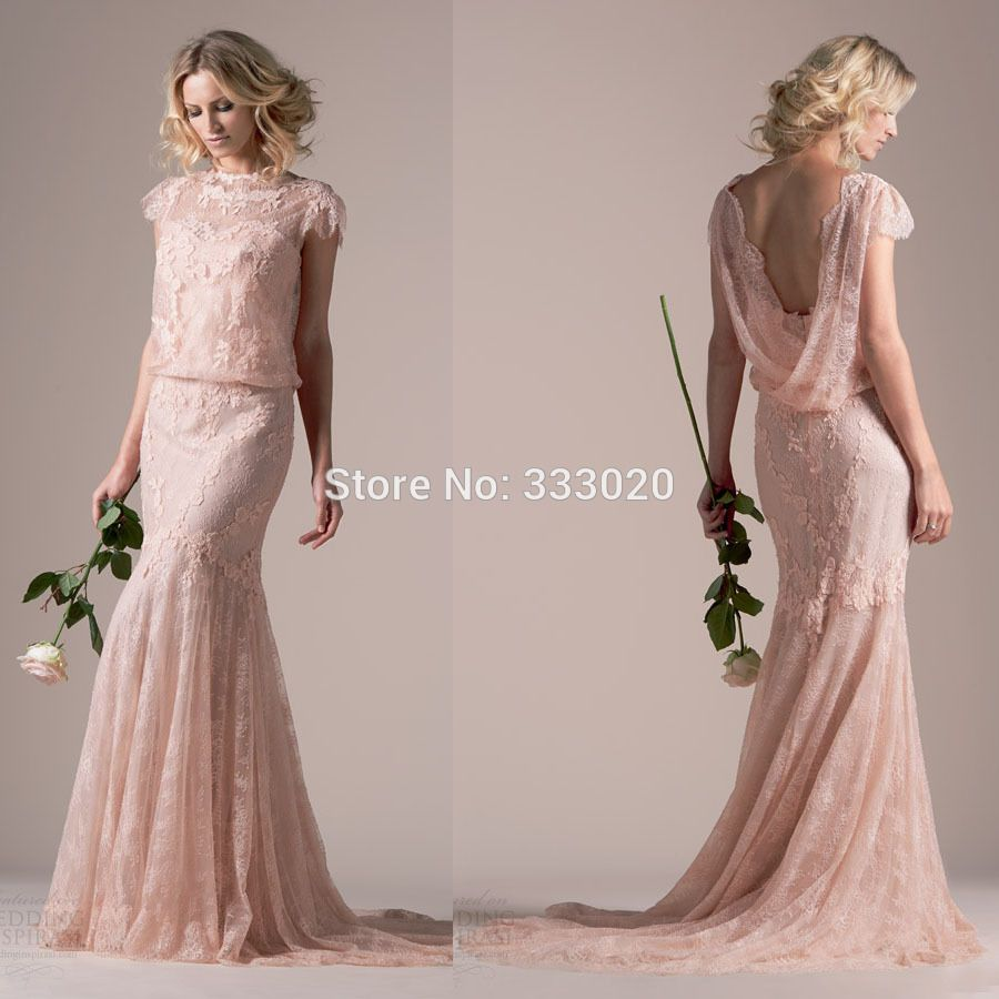 Find more wedding dresses information about high neck short sleeve from china gown dresses for sale suppliers high neck short sleeve lace mermaid blush pink wedding dresses illusion neckline cowl back vintage style ombrellifo Choice Image