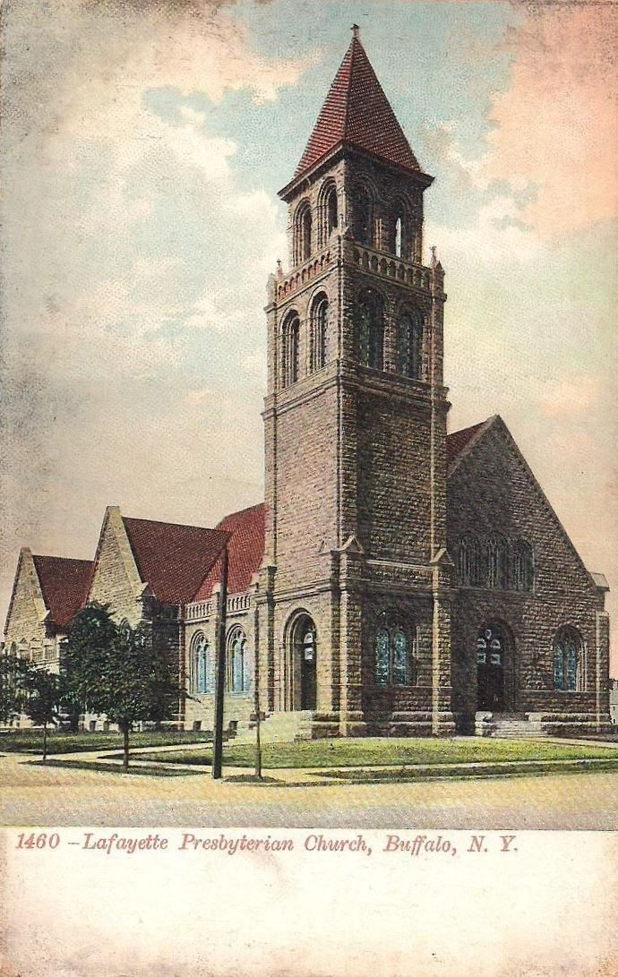 This fine color postcard, circa 1910, shows The Lafayette Avenue Presbyterian Church. The building dates from 1896 and was the third home of this Buffalo congregation that dates to the mid 19th Century.