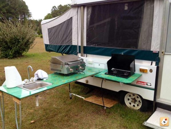 Custom outdoor kitchen & Custom outdoor kitchen | Camping | Camper kitchen Camper hacks ...