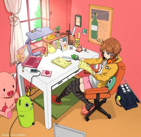 Anime Art Otaku Nerd Girl Bedroom Laptop Cellphone Books Toys Striped Socks Slippers Pink Anime Nerd Anime Otaku Room