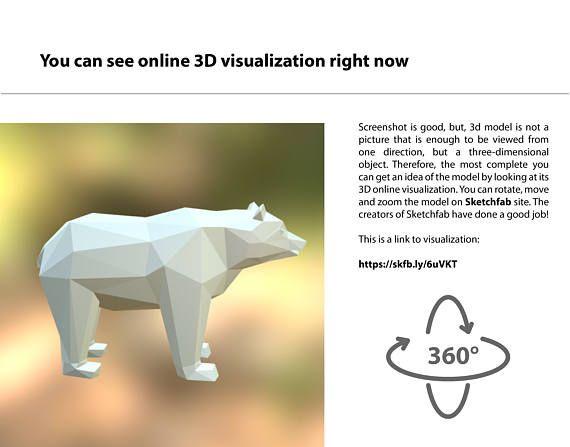 Bear 3d Model For 3d Printing Format Stl Etsy 3d Printing Prints Low Poly 3d Models