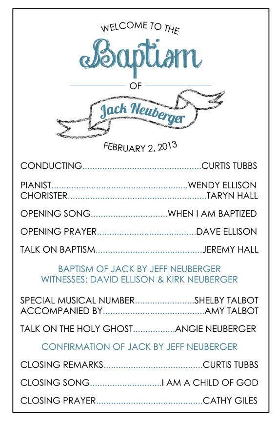 Printable Baptism Program - LDS, Girl, Boy   Pinterest   Bautismo ...