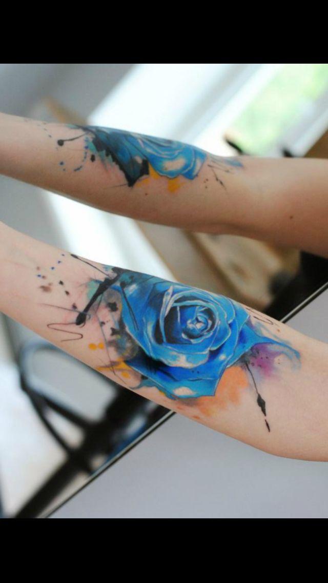 Blue watercolor rose tattoo looovveee for Blue blood tattoo