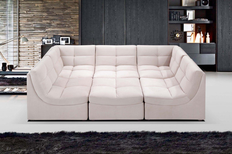 9148 6 pcs beige cloud modular sectional w ottoman for Modular sectional sofa with ottoman