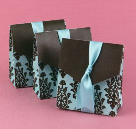 Favor Boxes - aqua and brown wedding