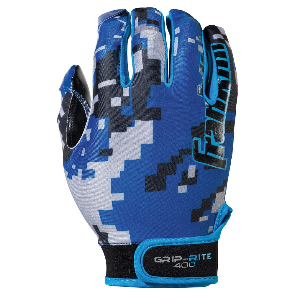 Franklin Sports Youth Grip-Rite 400 Football Receiver Gloves Medium / Large - Blue/Black,