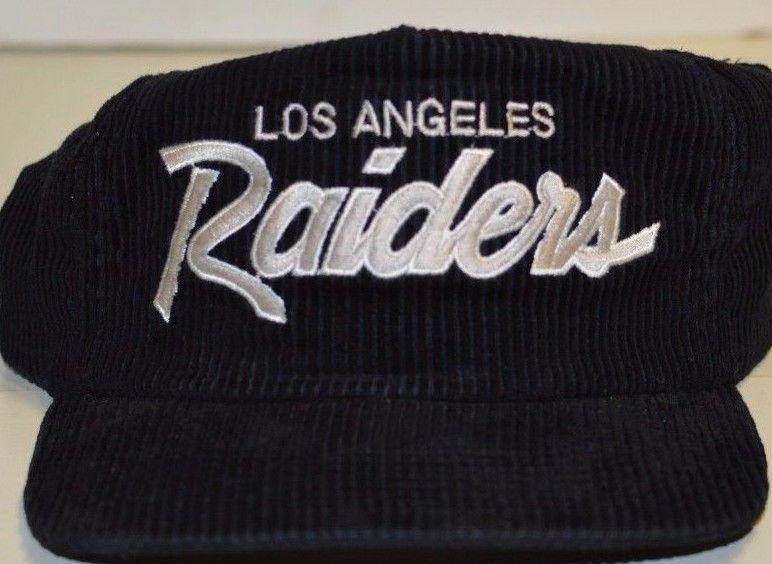 67365416 Vintage Los Angeles Raiders NFL Corduroy Hat Adjustable Strap ...