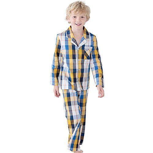 Hawiton Childrens Cotton Pajamas Set Toddler Kids Boy Cute Plaid Sleepwear Soft Long Sleeve Loungewear with Pocket