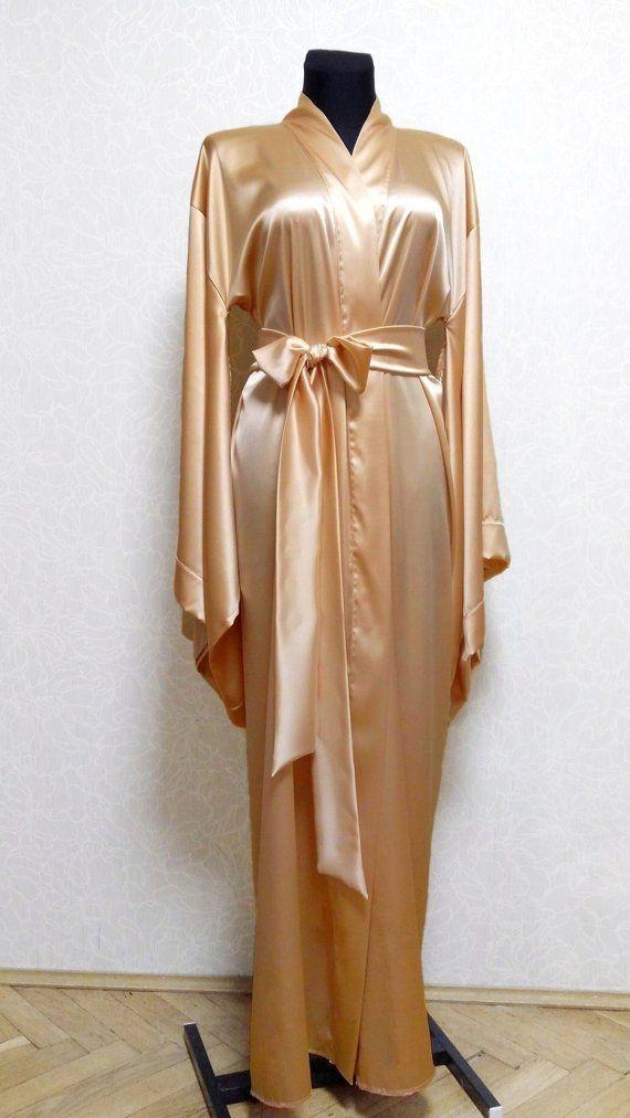 Long silk kimono robe, silk robe for women, womens satin
