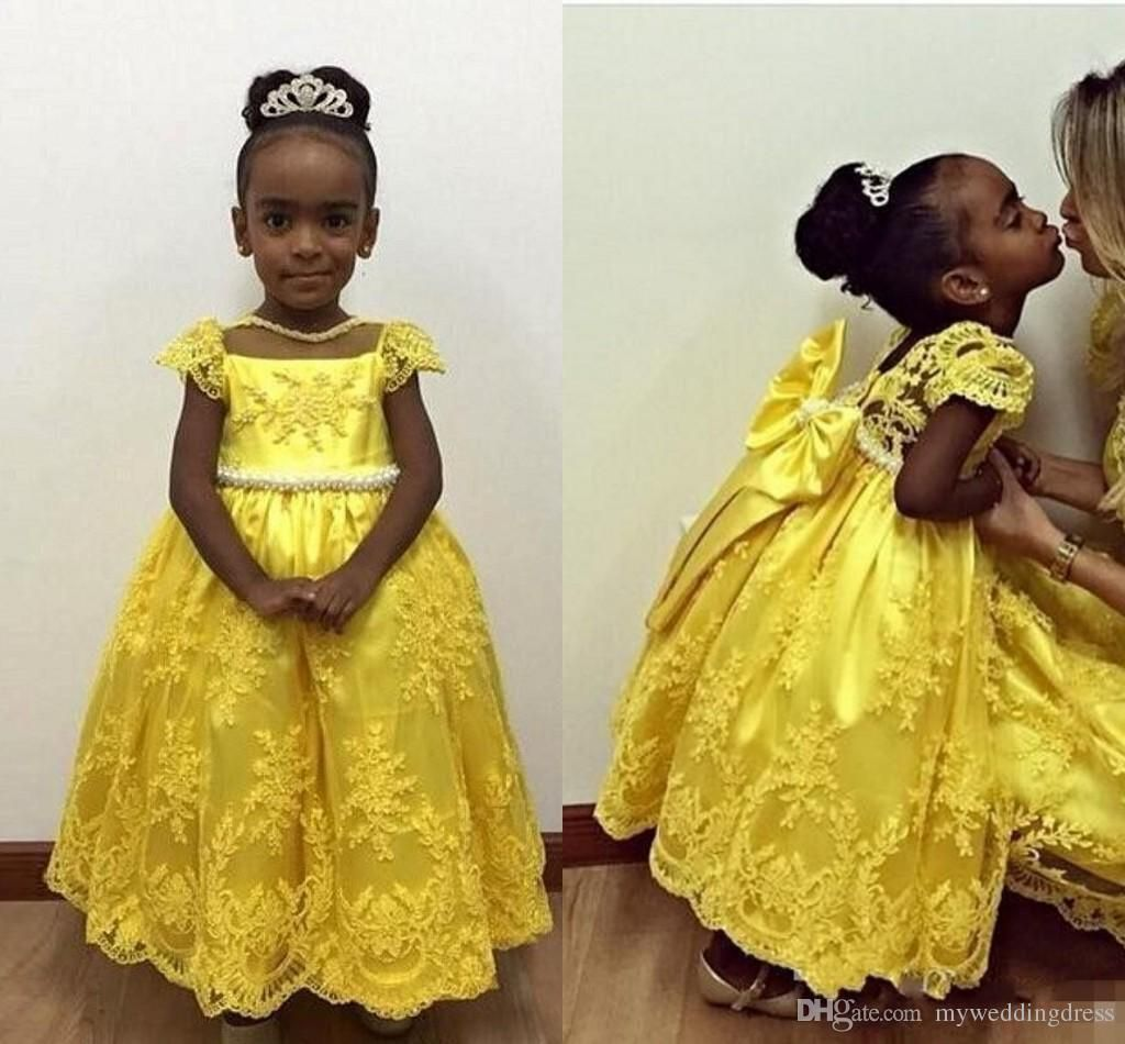 New Yellow Lace Little Flower Girl Dresses Short Sleeves Baby 2016 Flowergirl Communion Gowns For Weddings Girls Party Dress Long Tulle Kids Long Flower Girl Dresses Pink Flower Girl Dress From Myweddingdress, $86.84| Dhgate.Com