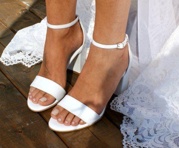 721602b2955 Block heel white leather wedding sandals  Handmade white leather heels  Bridal  heels  Bridal shoes  Wedding shoes  White bridal heels BIANCA