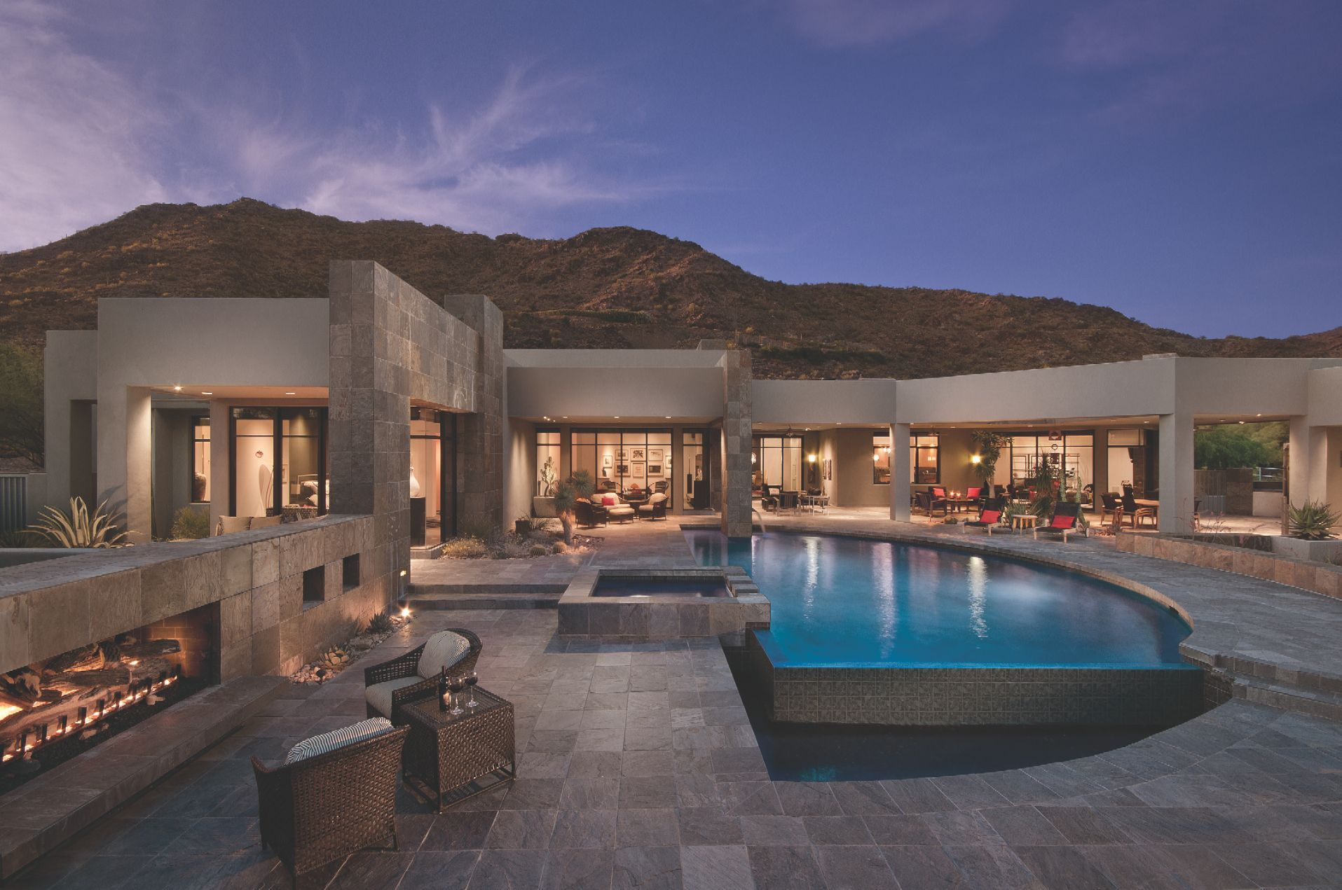 Mountain home with a pool in Arizona Santa Fe style outdoor