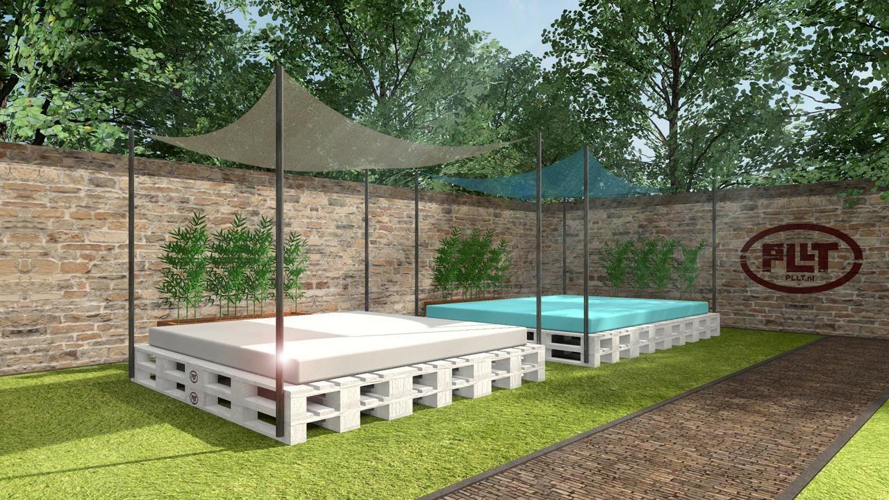 Impressie loungebedden van pllt pallet lounge meubelen studio 412 pllt pallet lounge - Deco terras zwembad ...