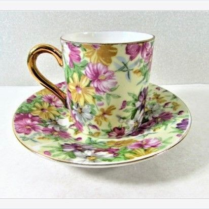 #Floral #Chintz #Demitasse Cup and Saucer #vintage