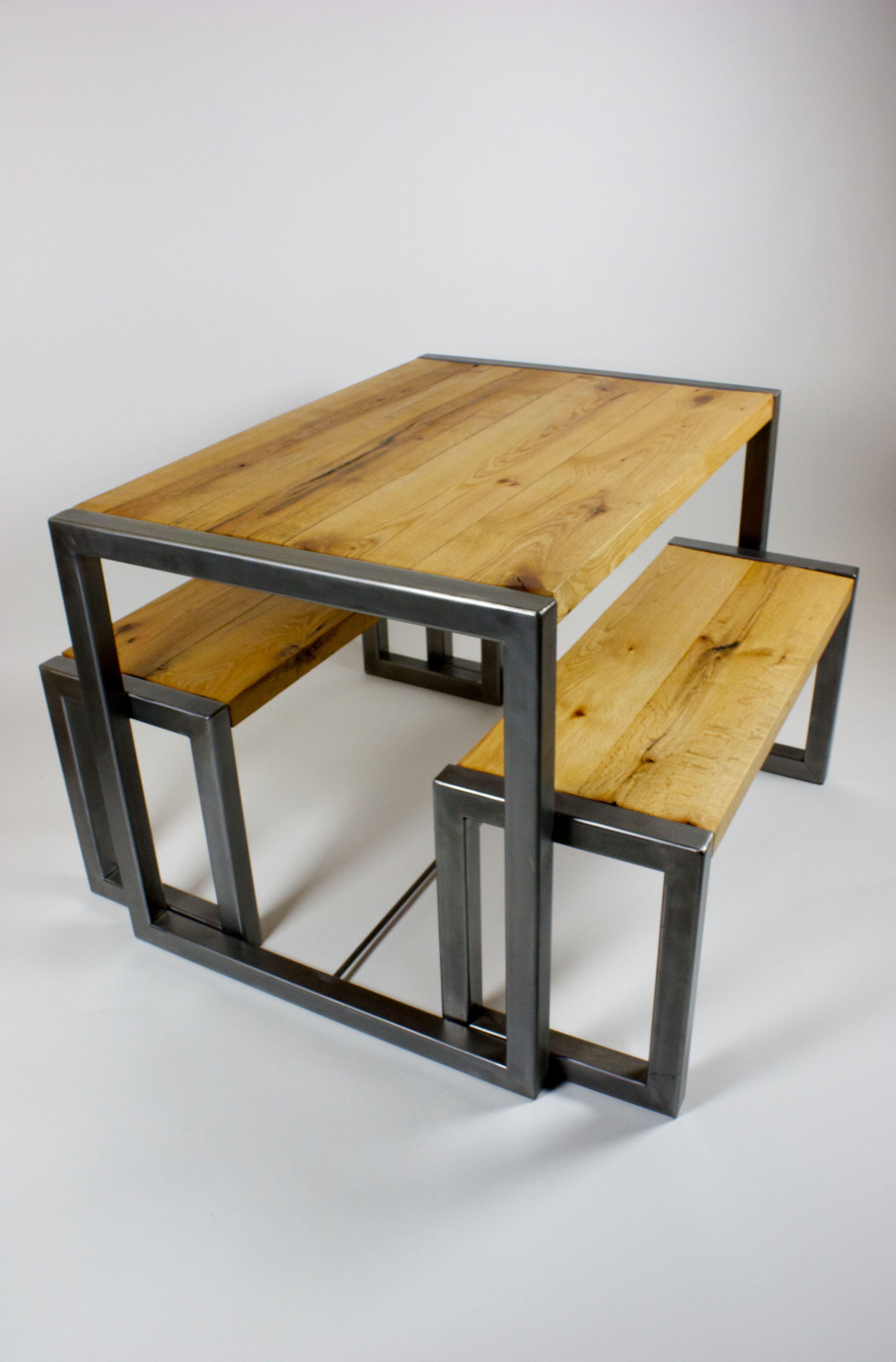 Oak And Polished Steel Table Set Cozinhas Industriais Rusticos Moveis Industriais Moveis Estilo Industrial