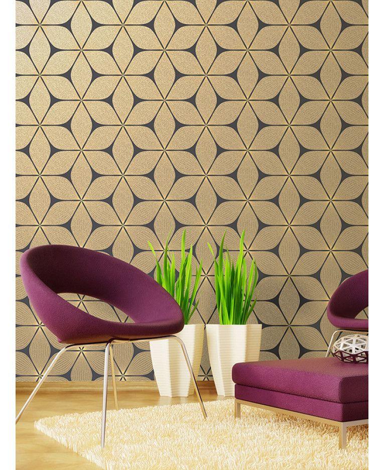 Vibration Geometric Glitter Wallpaper Gold Black Coloroll