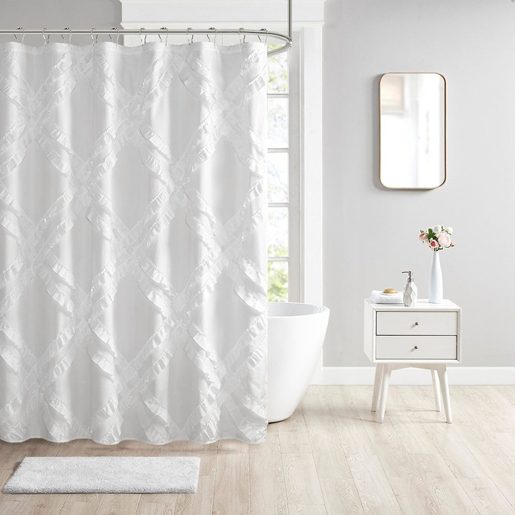 Margot Tufted Floral Shower Curtain In 2020 Floral Shower