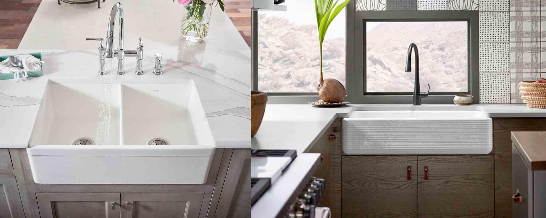 Farmhouse Kitchen Sinks Fireclay Vs Cast Iron Farmhouse Sink