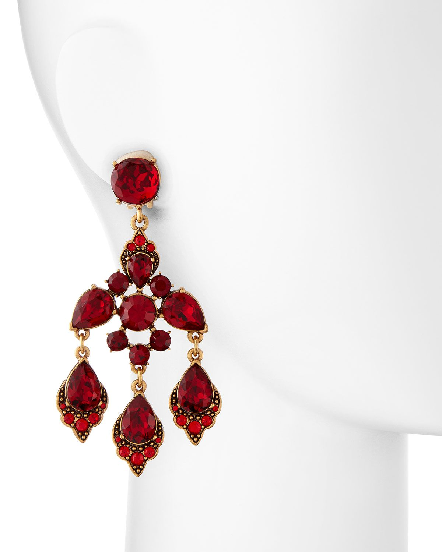 Oscar de la renta cardinal red crystal chandelier clip on earrings oscar de la renta cardinal red crystal chandelier clip on earrings arubaitofo Choice Image