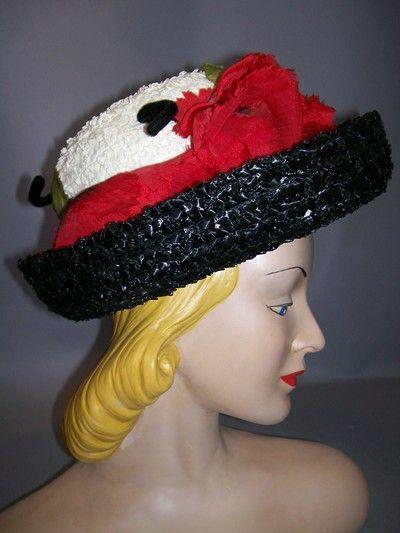 "1960s poppy trimmed hat by ""Suzy et Paulette"""