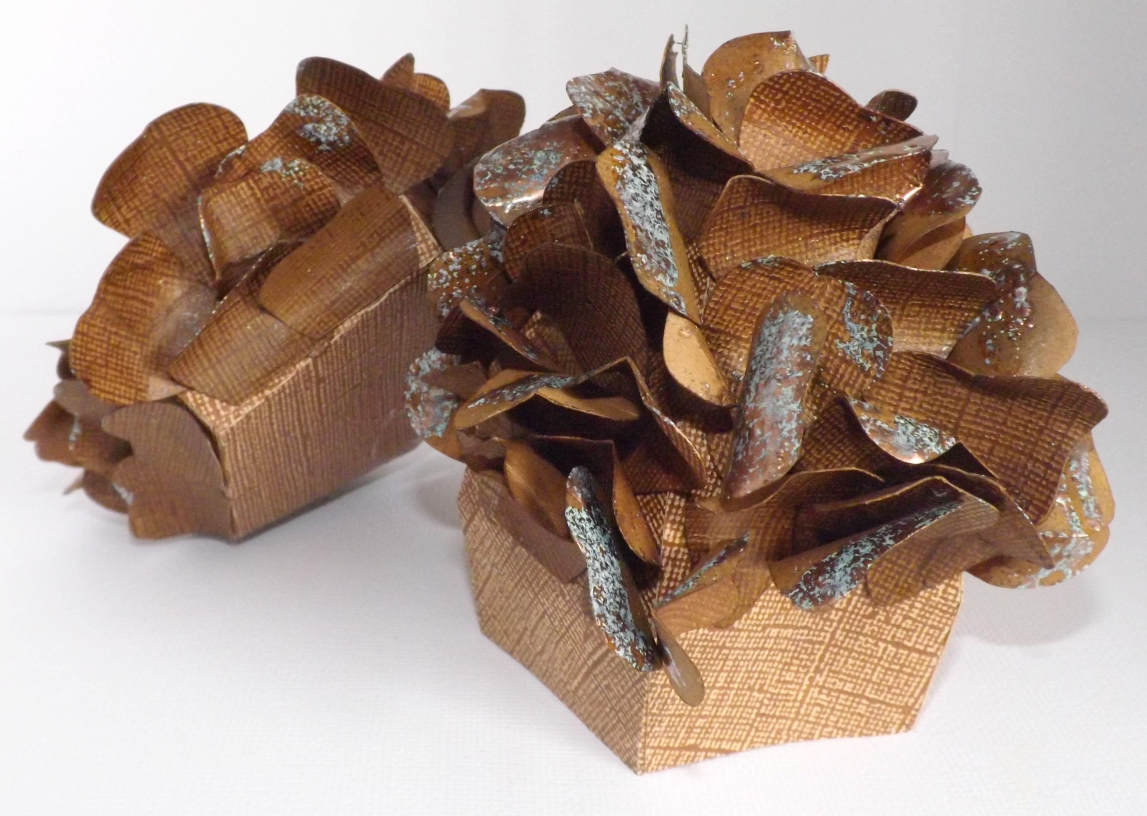 My scrap chick.  Pine Cone box, open view