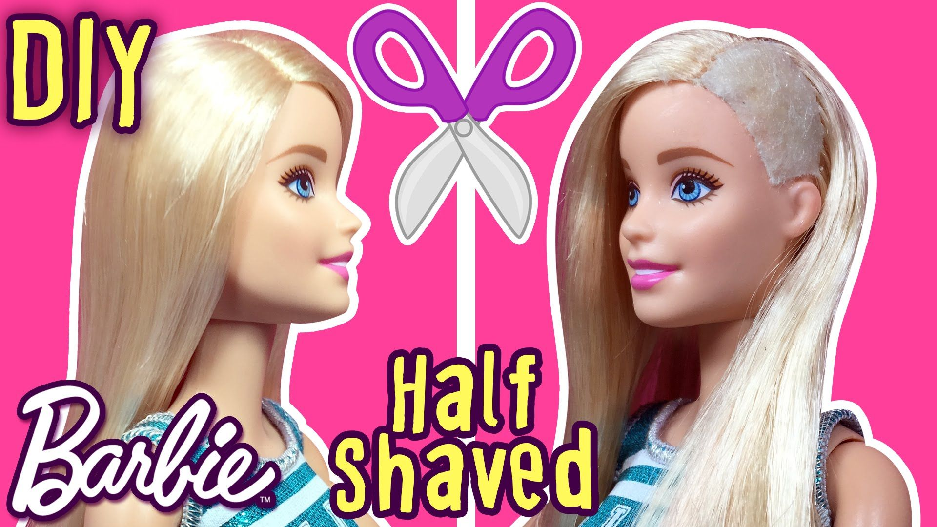 DIY How to Cut Half Shaved Hair Barbie Doll Sidecut Hair