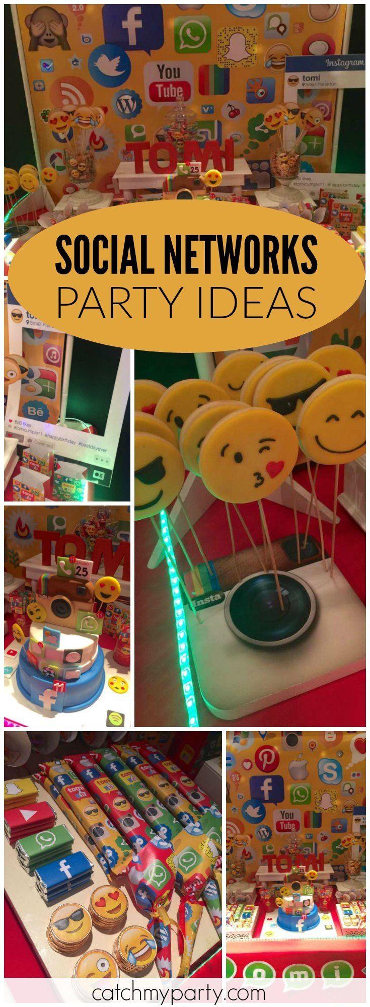 Social Networks Redes Sociales Birthday Social Networks For Tomi Redes Sociales Para Tomi Catch My Party Birthday Party For Teens Emoji Birthday Party Emoji Party