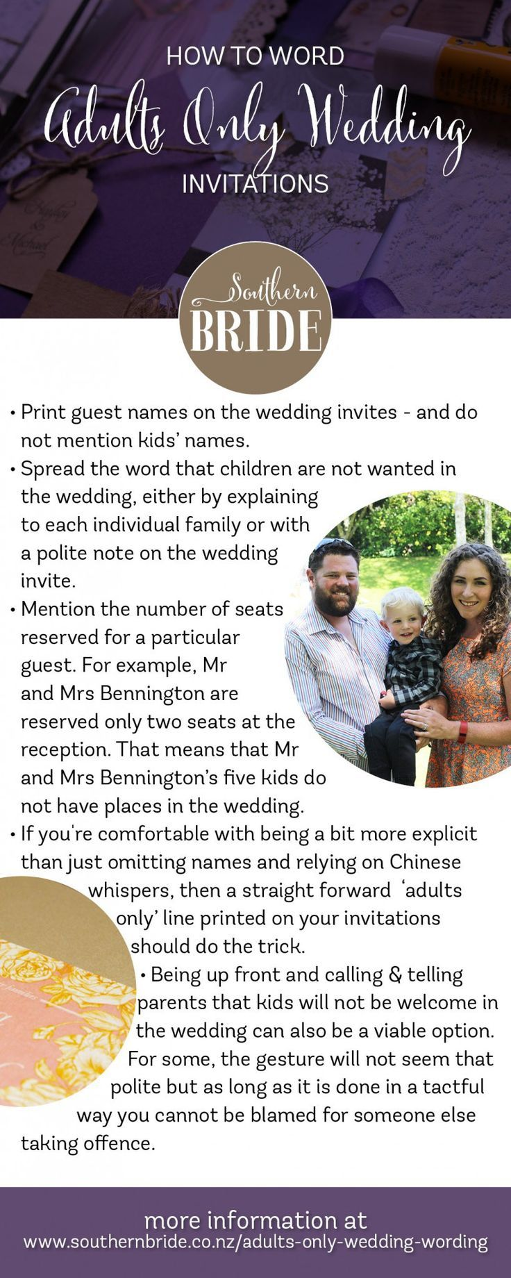 How To Tell Guests You Are Having An Adults Only Wedding Invitation WordingWedding StationaryWedding EtiquetteSouthern