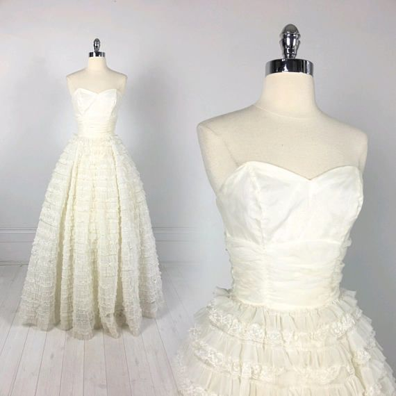Vintage 50s Frothy Tulle CUPCAKE DRESS prom wedding formal | wedding ...