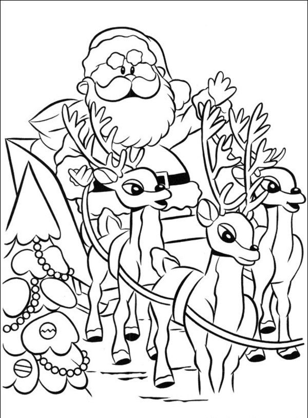 Santa Clause Sleigh Coloring Page Santa Coloring Pages Christmas Coloring Books Coloring Pages