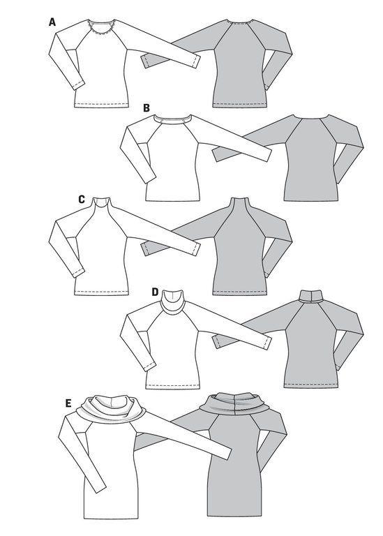 Burda Schnittmuster - Shirt – Raglanärmel – Rollkragen (6990 ...