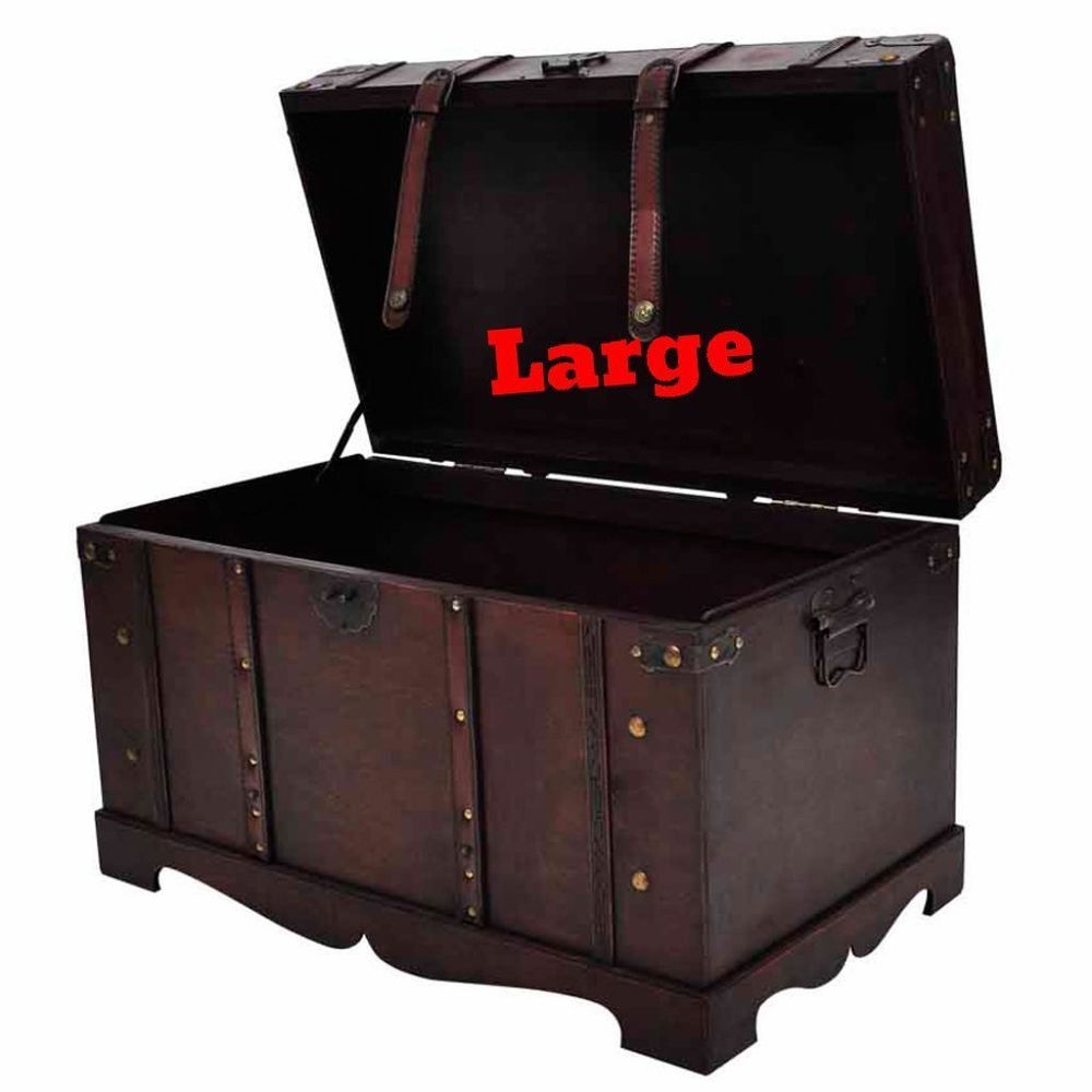 Superbe Pirate Treasure Chest Vintage Large Wooden Storage Blanket Box Safe Trunk  Latch