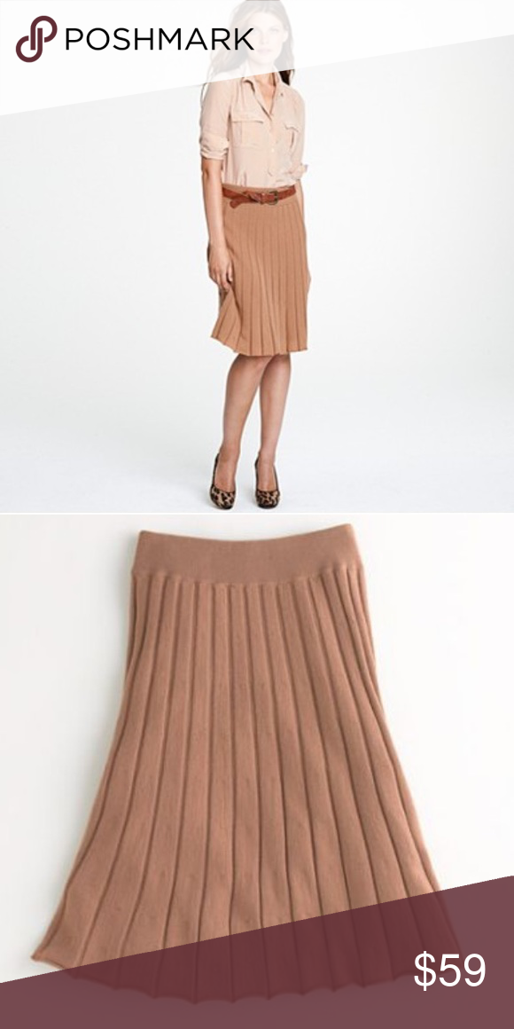 59d1ef1d33 J Crew camel brown tan pleated merino wool skirt Two layers of Soft merino  wool knit. Elastic wide waist. Pleated style with just a little movement  and ...
