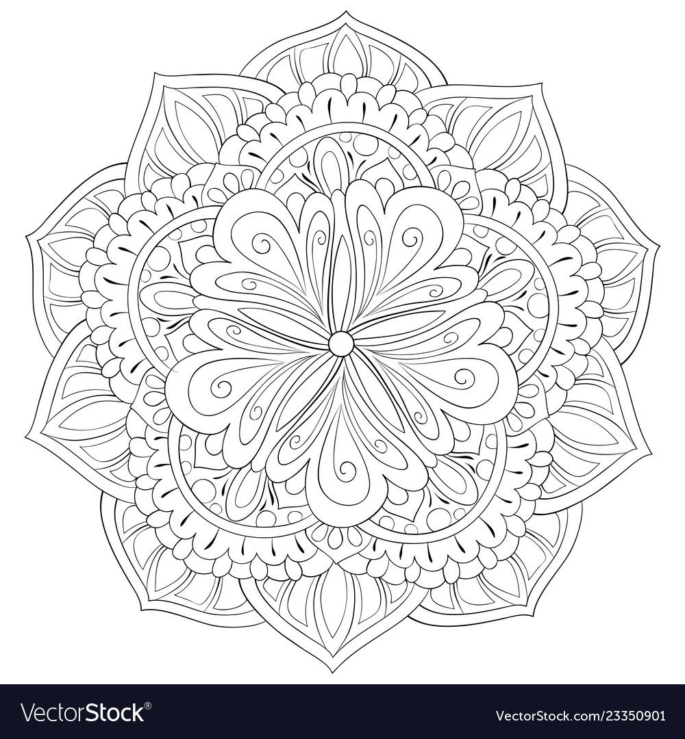 Photo Bookpage Ideas: Adult Coloring Bookpage A Zen Mandala Image For Vector