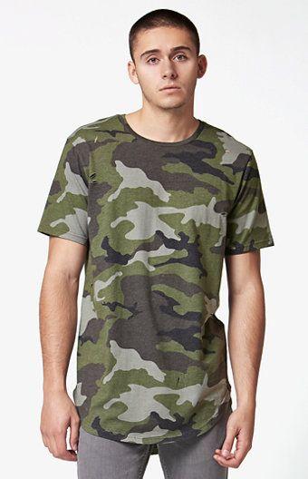 ea3edf84 Vine Camo Extended Length Scallop T-Shirt   December selects   Short ...
