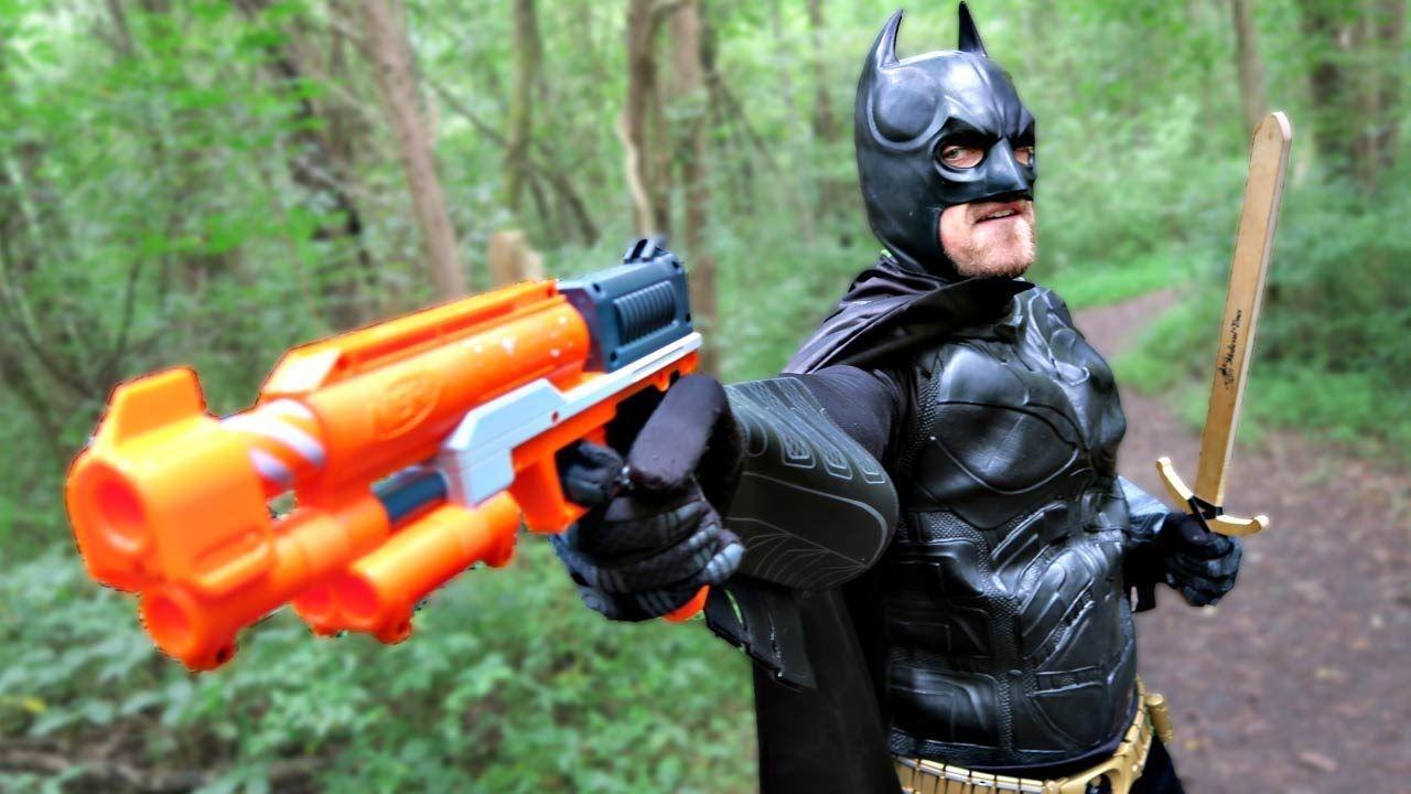 BATMAN Hunts Mecha-JOKER with Laser Nerf Gun & Sword | DCTC Superheroes ...  | batié bussiness1 | Pinterest | Real life