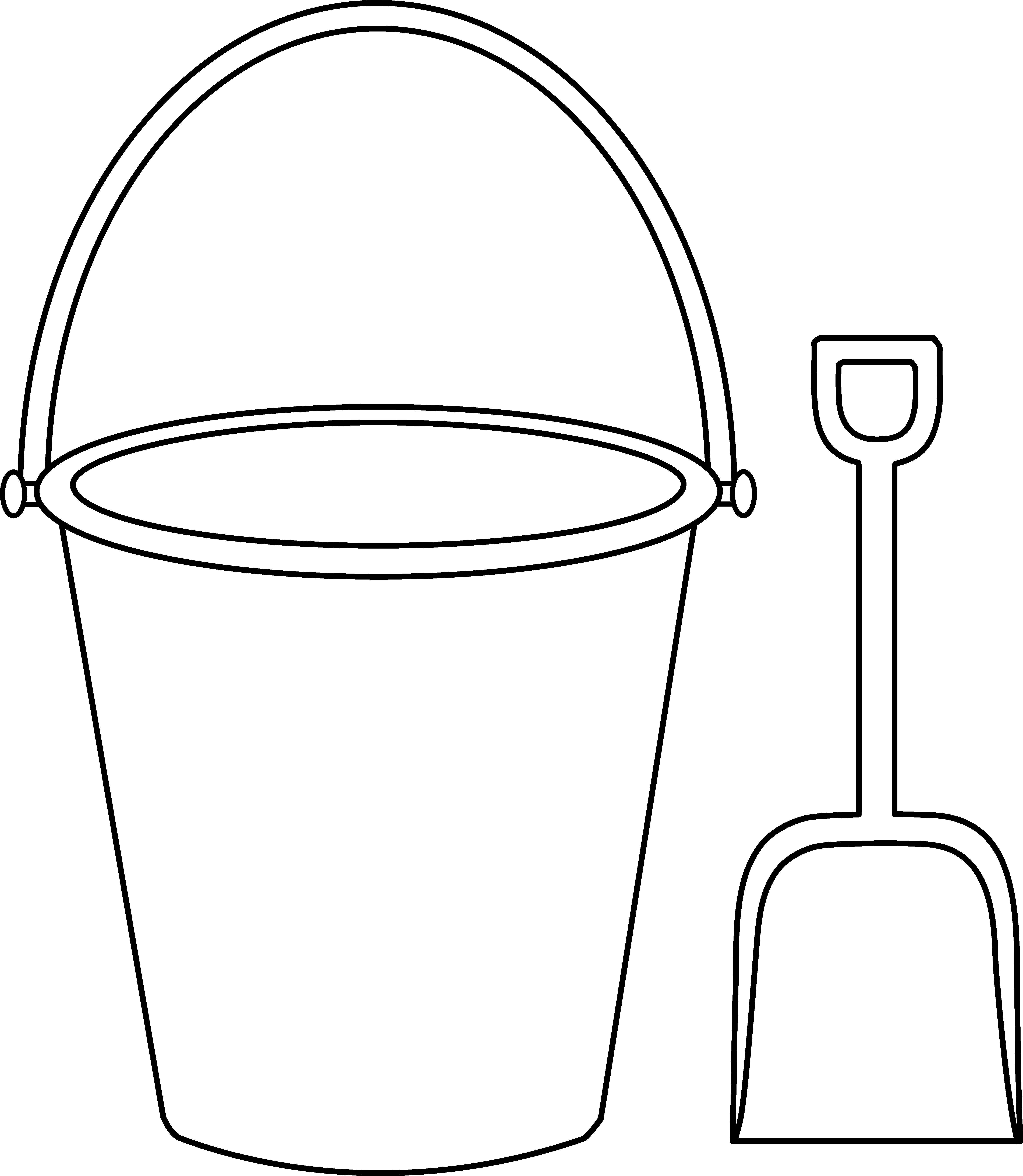 Bucket And Shovel Outline