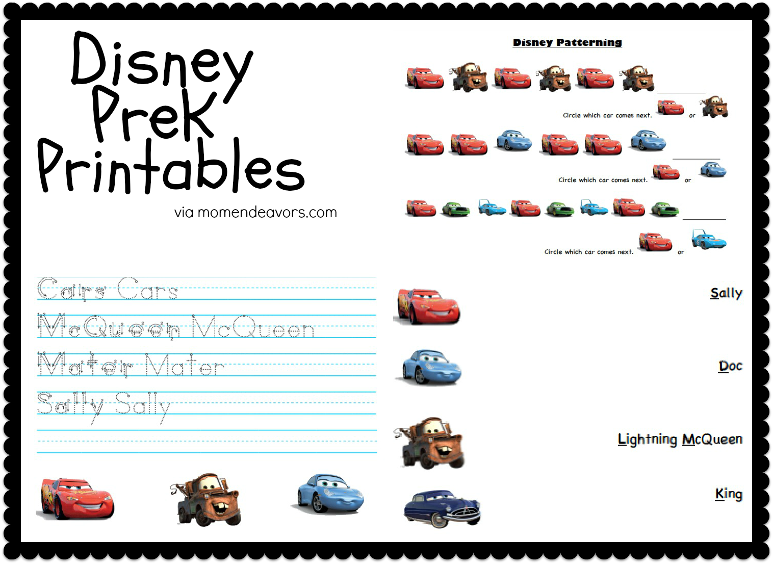 DisneyPixar CARS PreK Printable Activity Sheets Disney