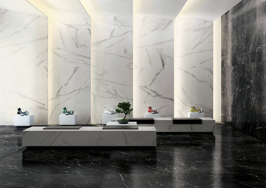 Matt Marble Tiles For Walls And Floors Black And White Wall