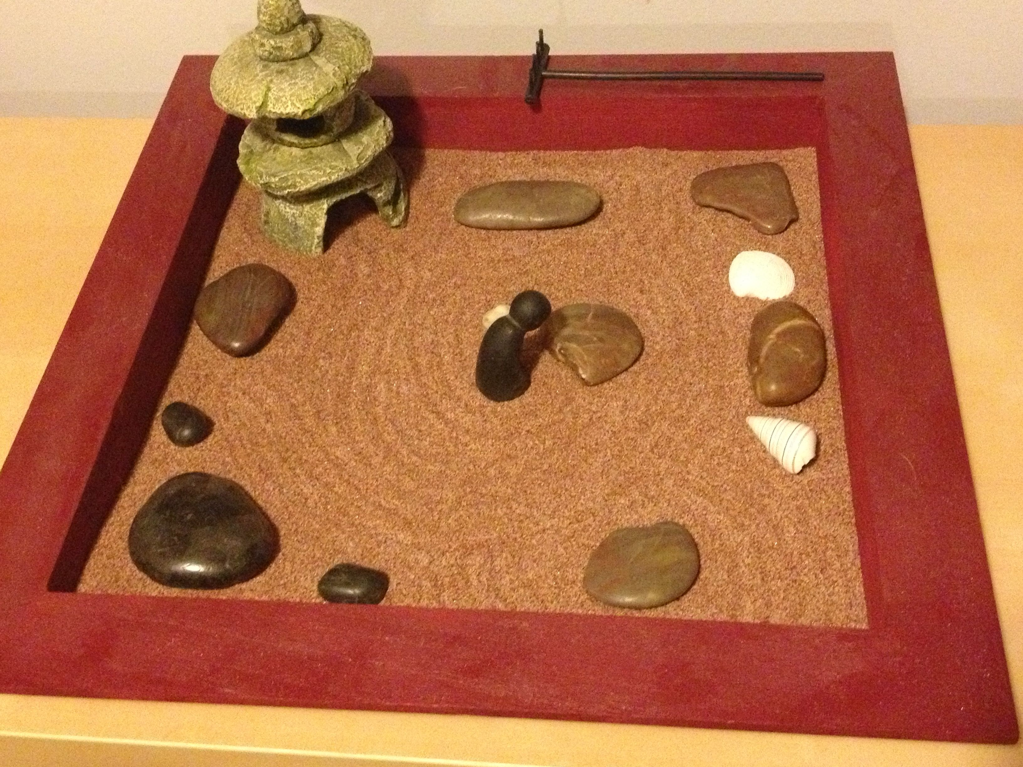 Mini #zen #garden. Supplies: From Michaelu0027s   Shadow Box, Spray Paint,  Sand, Rocks; #pagoda From Pet Store, Aquarium Section. Rakes Are A Tough  Find.