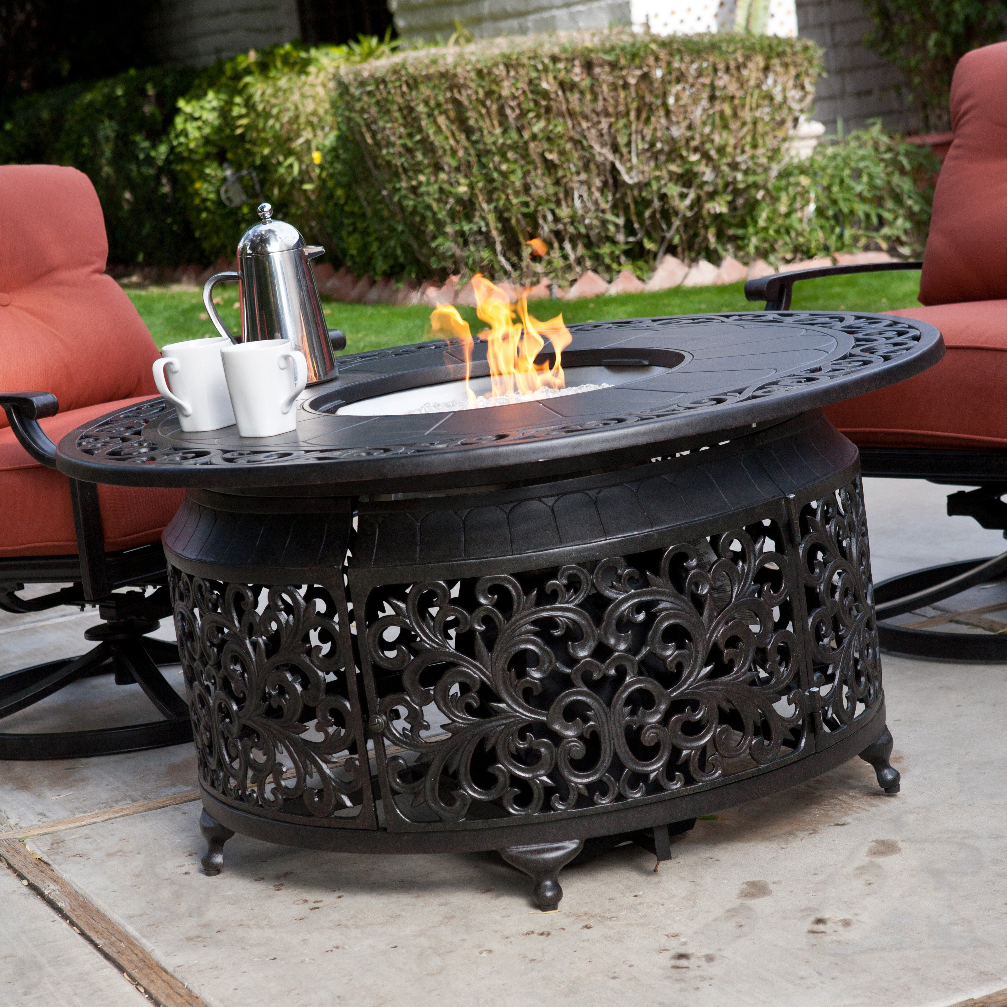 Alfresco Home San Miguel Cast Aluminum 48 In Round Gas Firepit Chat Table No Gas B Www Hayneedle Com Gas Firepit Fire Pit Chairs Rustic Fire Pits
