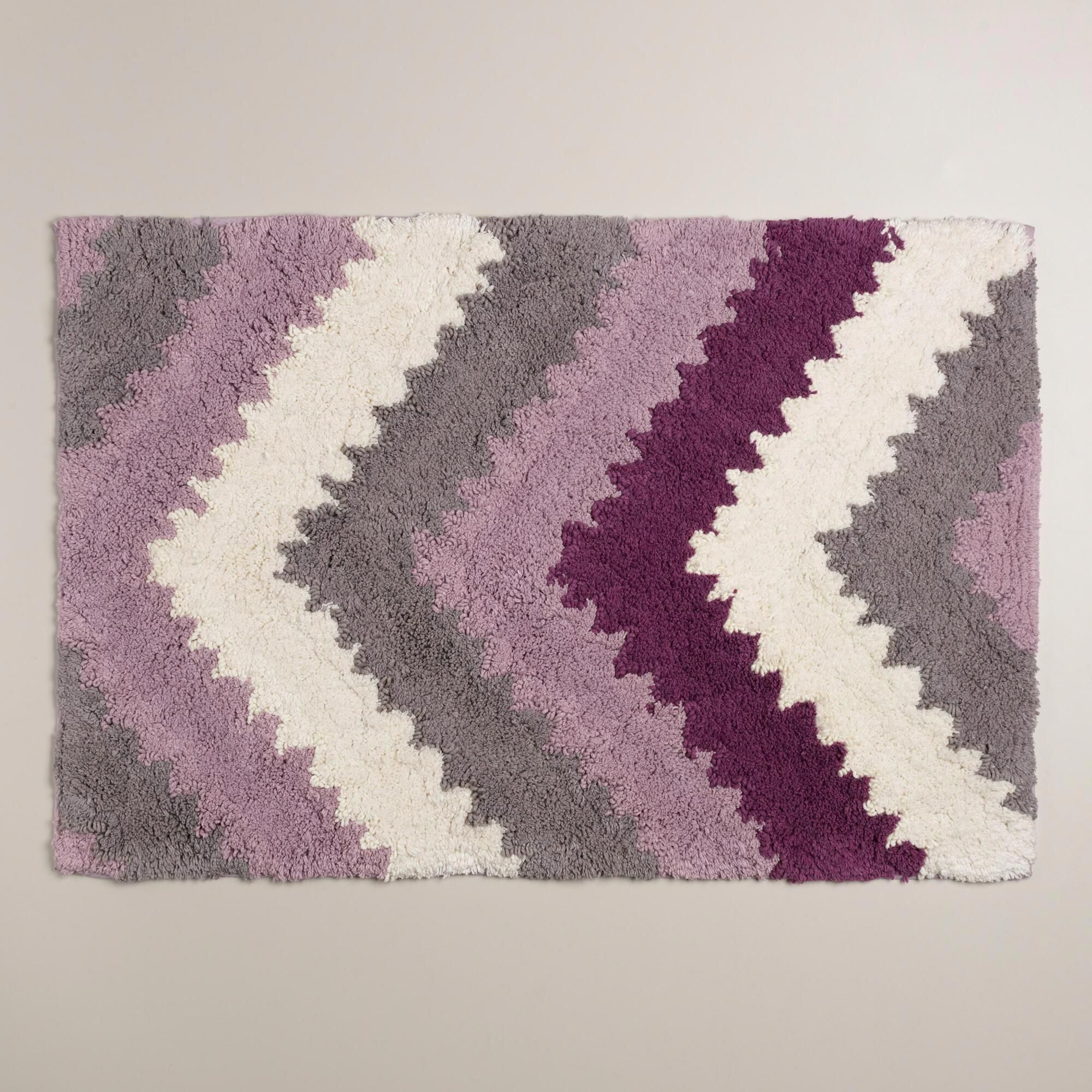 With Pops Of Plum Lavender And Frost Gray In A Chevron Design Our Exclusive Bath Mat Gives Your Bathroom Plum Bathroom Small Bathroom Decor Lavender Bathroom