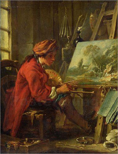 """In früheren Zeiten begann die Ausbildung zum Künstler der bildenden Kunst bereits als Kind. Mit einem Kunstposter kannst du dem """"jungen Maler"""" von François Boucher einmal über die Schulter schauen."""