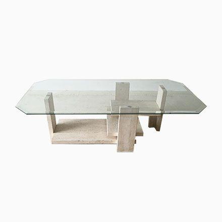 Brutalistischer Oktogonaler Travertin Couchtisch von Willy Ballez - marmor wohnzimmer tische