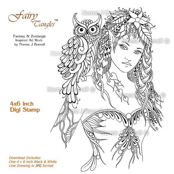 Minerva Goddess Fairy Tangles Digi Stamp Fairy by FairyTangleArt ...