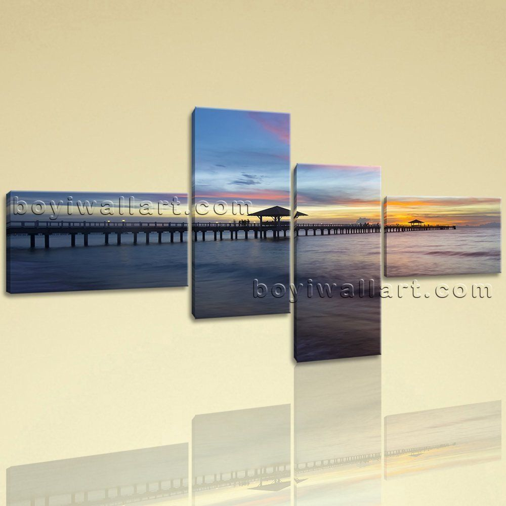 """Large Art Print New On Canvas Wall Sunset Landscape Beach Waves Peaceful Scene, Extra Large Sunrise Wall Art, Bedroom, Black Rock. Large Art Print New On Canvas Wall Sunset Landscape Beach Waves Peaceful Scene Subject : Sunrise Style : Photography Panels : 4 Detail Size : 14""""x32""""x2,14""""x22""""x2 Overall Size : 75""""x40"""" = 191cm x 102cm Medium : Giclee Print On Canvas Condition : Brand New Frames : Gallery wrapped [FEATURES] Lightweight and easy to hang. High revolution giclee…"""